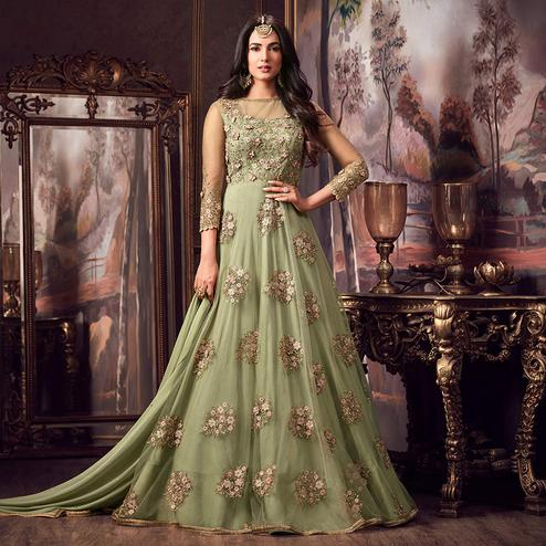 Groovy Light Green Colored Party Wear Embroidered Net Anarkali Suit