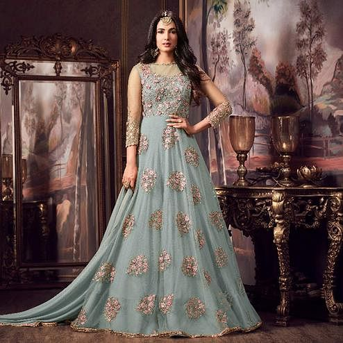 Prominent Light Stone Blue Colored Party Wear Embroidered Net Anarkali Suit