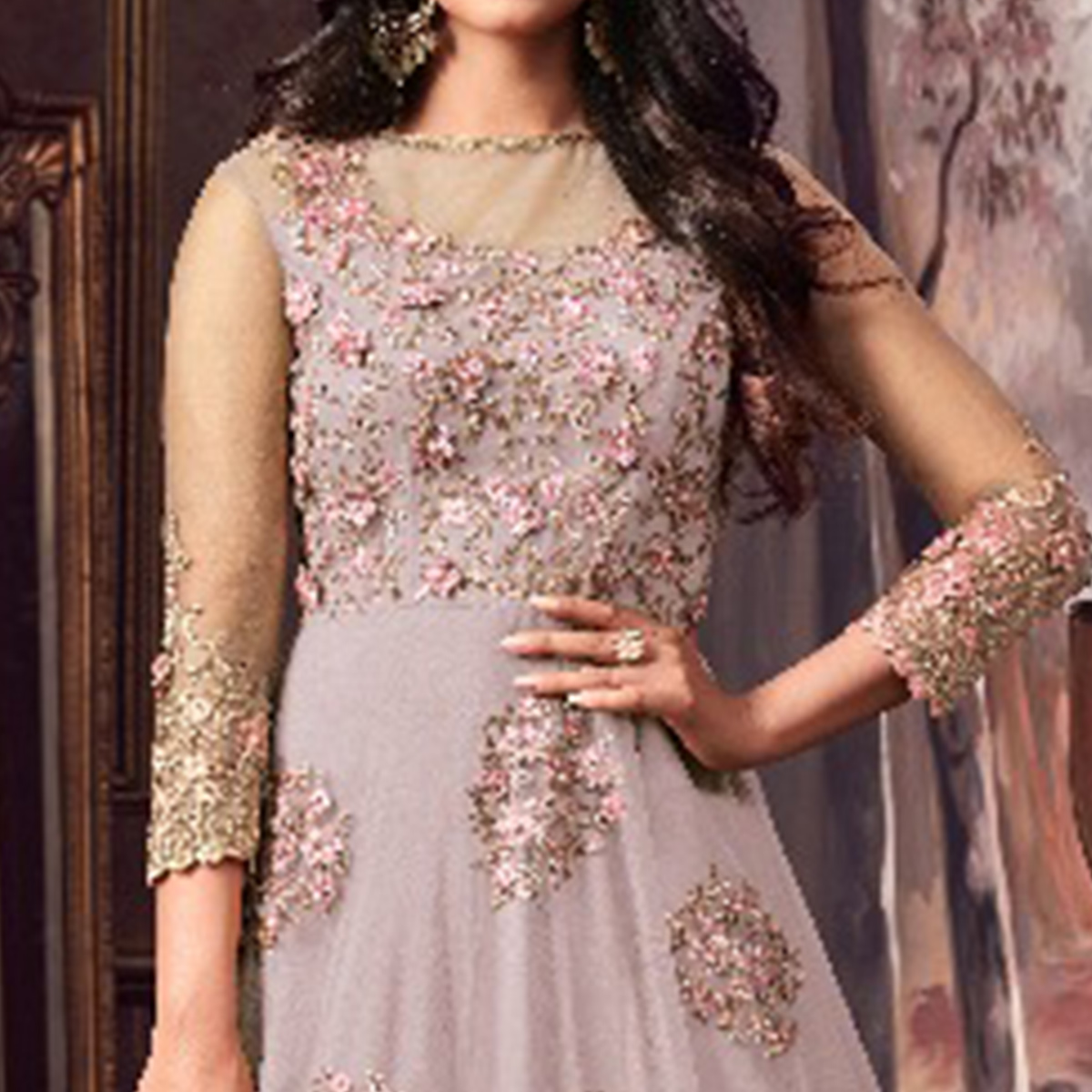 Innovative Grey Colored Party Wear Embroidered Net Anarkali Suit