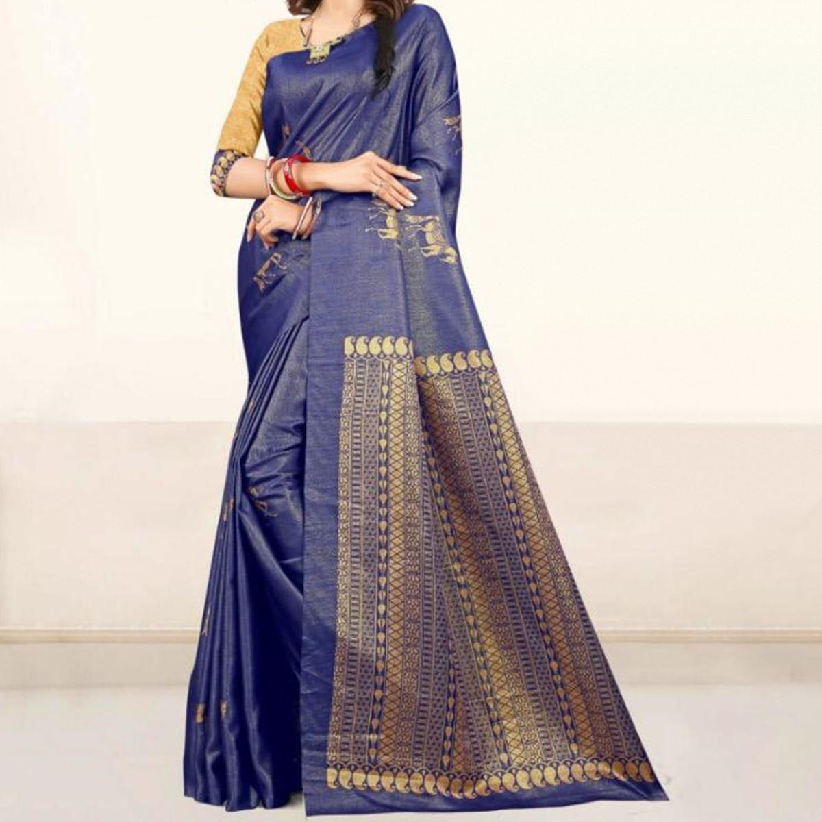 Arresting Navy Blue Colored Festive Wear Printed Tussar Silk Saree