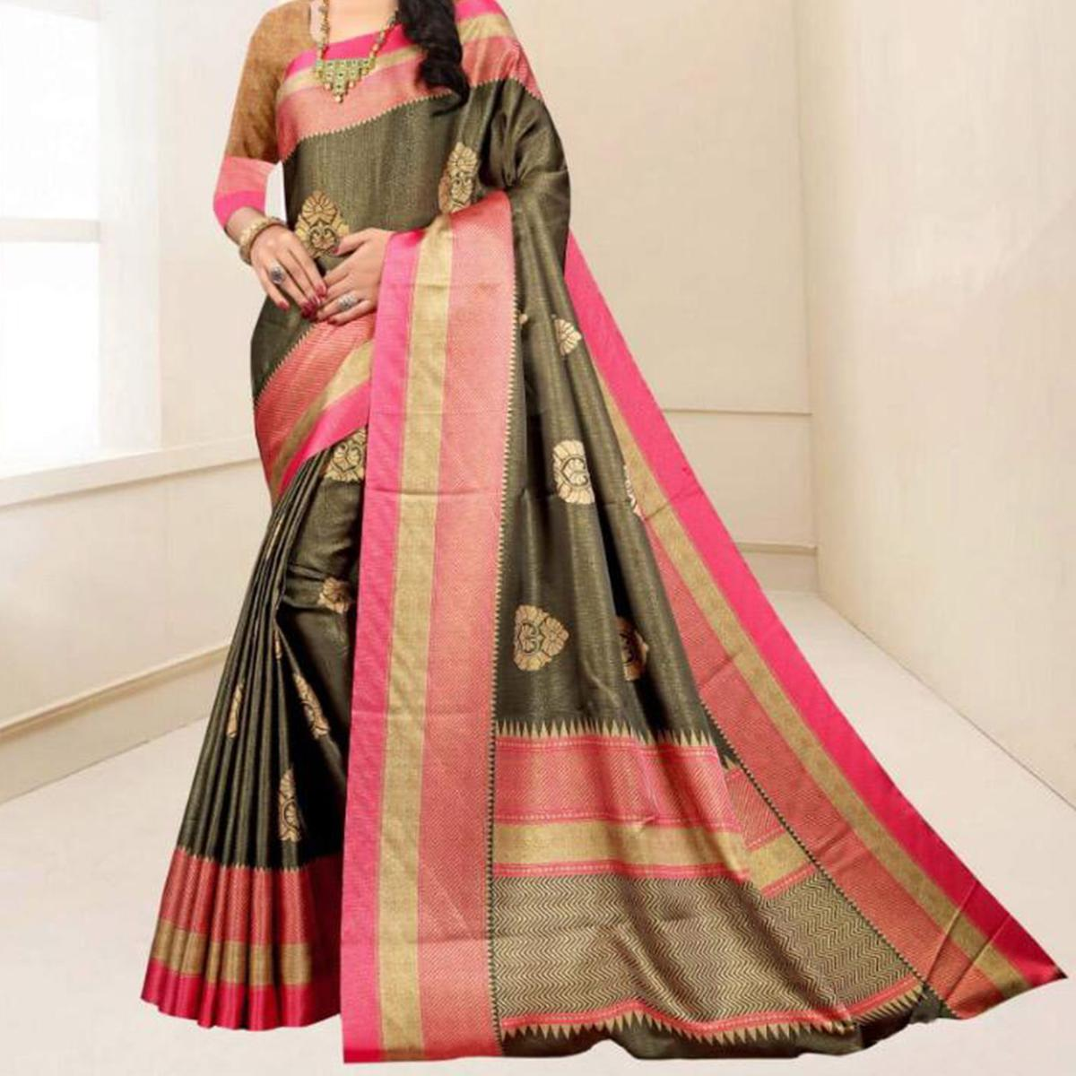 Starring Dark Grey Colored Festive Wear Printed Tussar Silk Saree