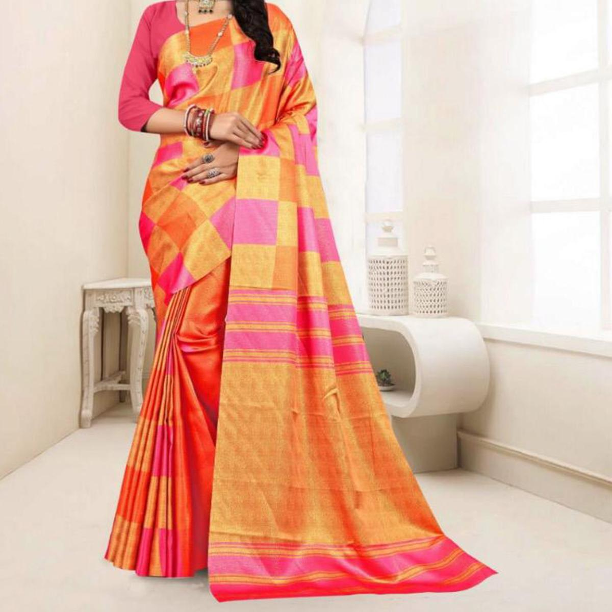 Radiant Orange - Pink Colored Festive Wear Printed Tussar Silk Saree