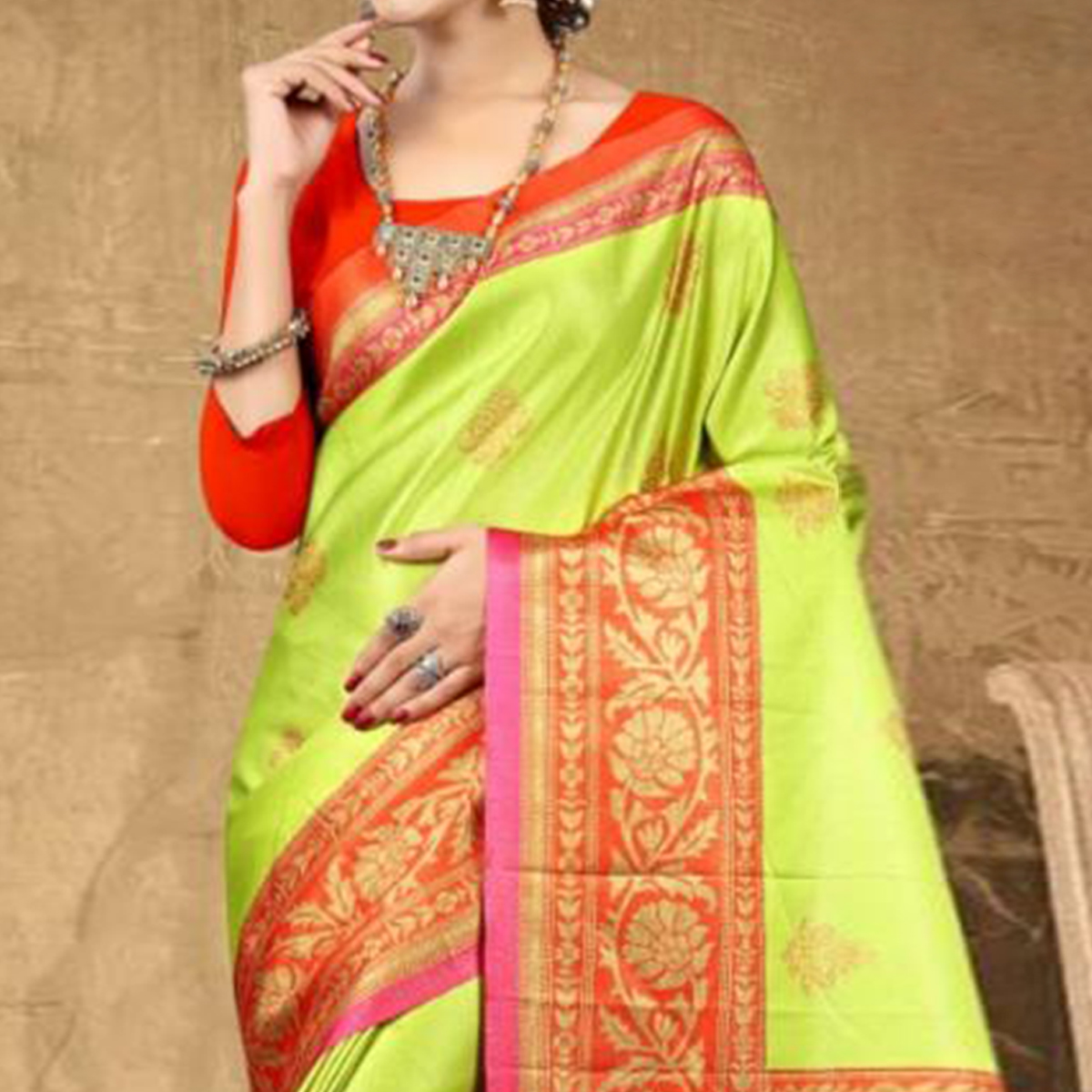 Gleaming Bright Green Colored Festive Wear Printed Tussar Silk Saree