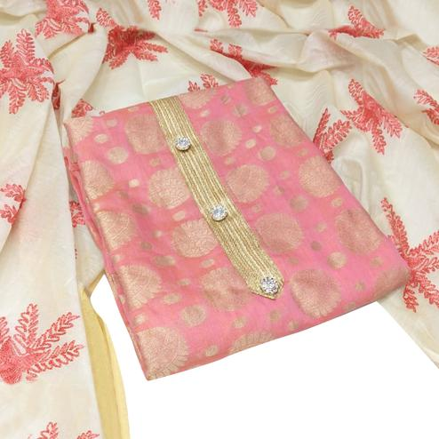 Eye-catching Pink Colored Party Wear Woven Jacquard Dress Material