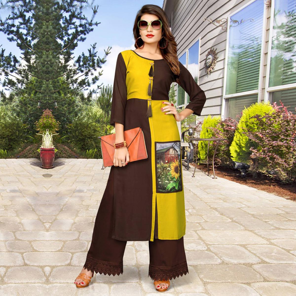 Beautiful Yellow And Brown Printed Party Wear Kurti
