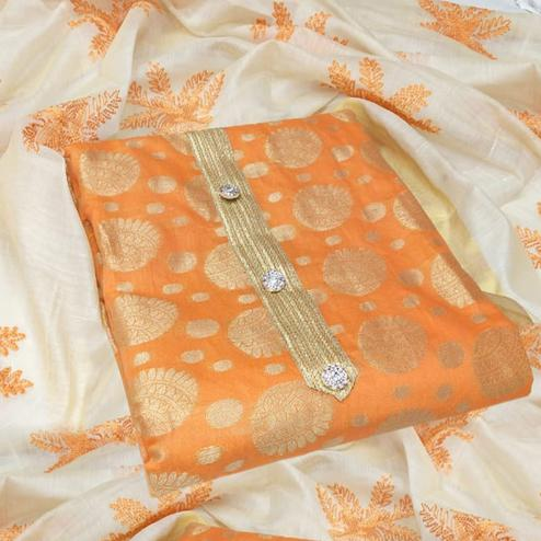 Fantastic Orange Colored Party Wear Woven Jacquard Dress Material