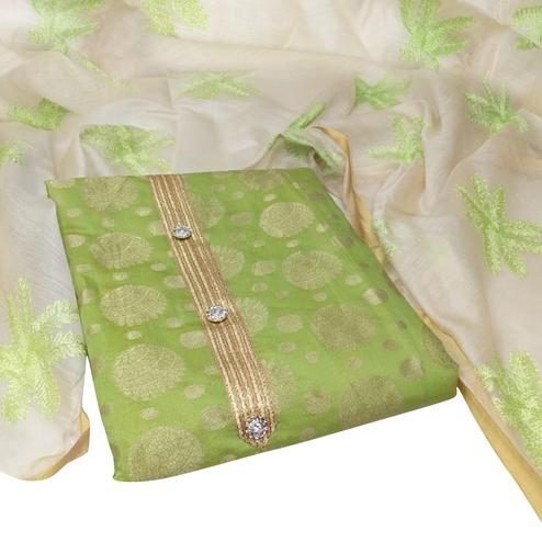 Glowing Green Colored Party Wear Woven Jacquard Dress Material