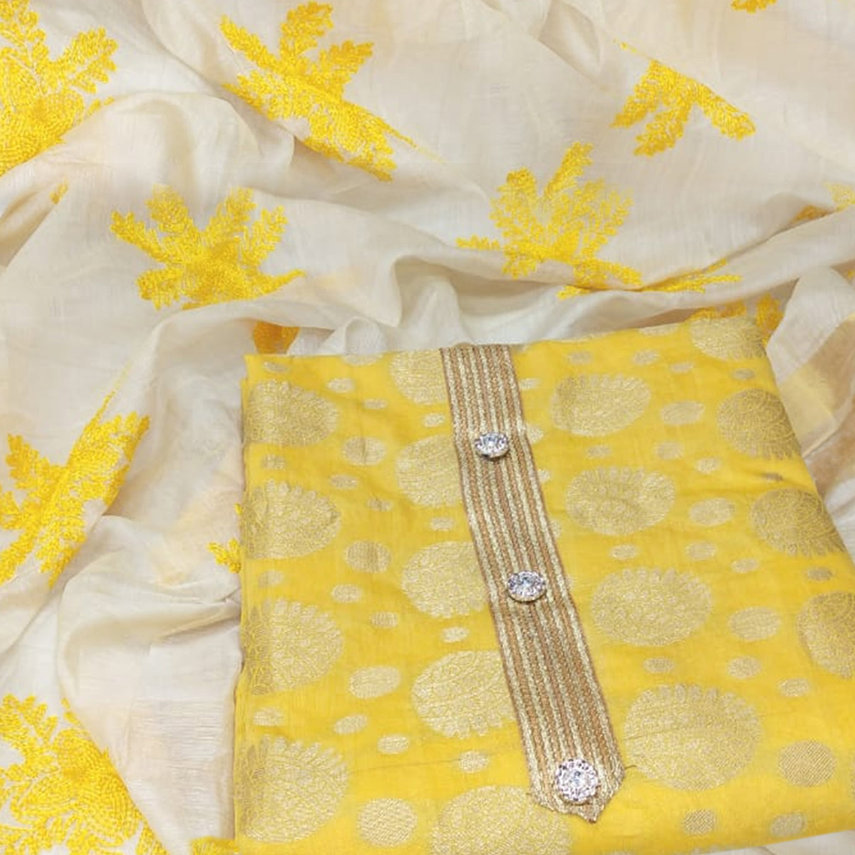 Blooming Yellow Colored Party Wear Woven Jacquard Dress Material