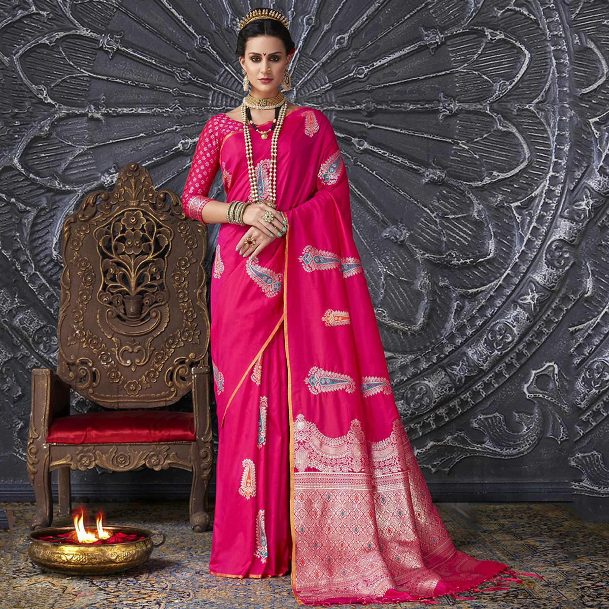 Glorious Rani Pink Colored Festive Wear Printed Silk Saree