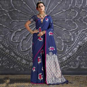 Gorgeous Navy Blue Colored Festive Wear Printed Silk Saree