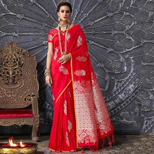 Graceful Red Colored Festive Wear Printed Silk Saree