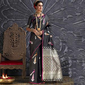 Ideal Black Colored Festive Wear Printed Silk Saree