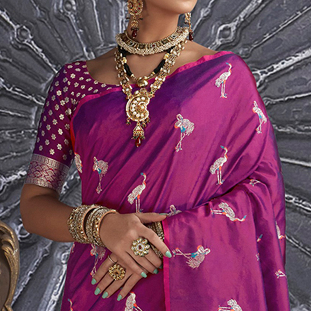 Imposing Purple Colored Festive Wear Printed Silk Saree
