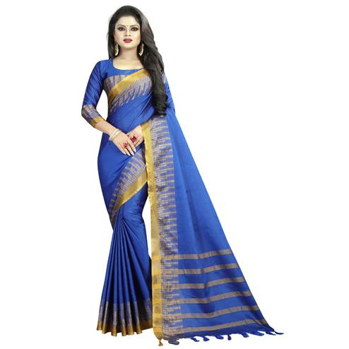Beautiful Blue Colored Festive Wear Cotton Silk Saree