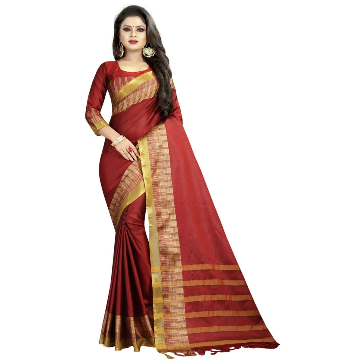Blooming Maroon Colored Festive Wear Cotton Silk Saree