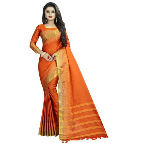 Charming Orange Colored Festive Wear Cotton Silk Saree