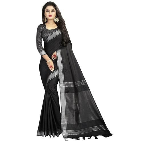Arresting Black Colored Festive Wear Linen Saree