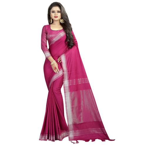 Pretty Magenta Pink Colored Festive Wear Linen Saree
