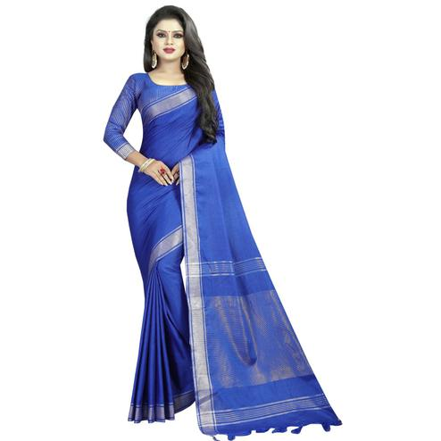 Entrancing Blue Colored Festive Wear Linen Saree