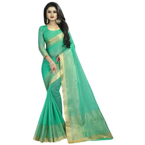 Exotic Turquoise Green Colored Festive Wear Manipuri Silk Saree
