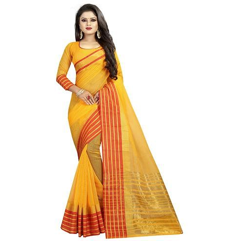 Eye-catching Yellow Colored Festive Wear Manipuri Silk Saree
