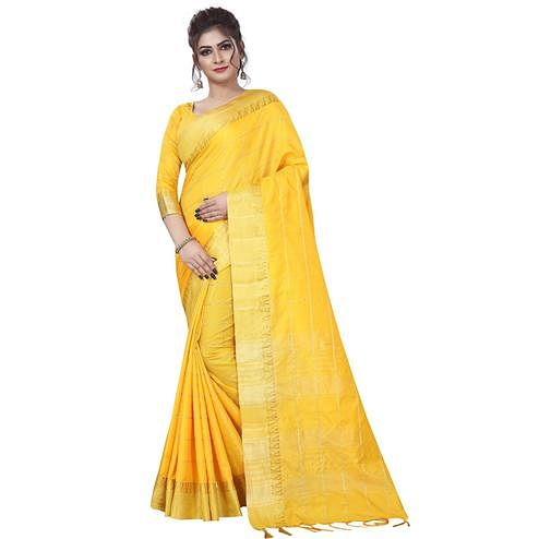 Glorious Yellow Colored Festive Wear Art Silk Saree
