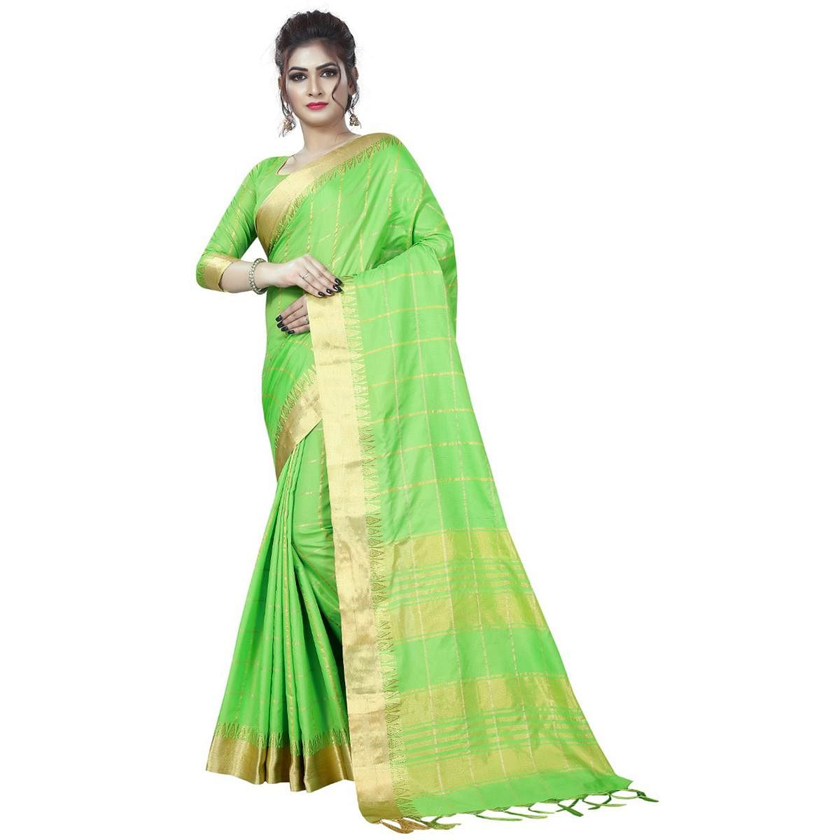 Gorgeous Green Colored Festive Wear Art Silk Saree