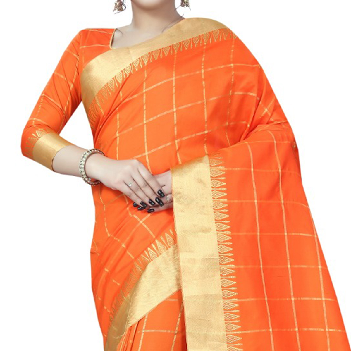 Ideal Orange Colored Festive Wear Art Silk Saree