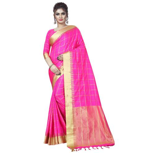 Imposing Rani Pink Colored Festive Wear Art Silk Saree