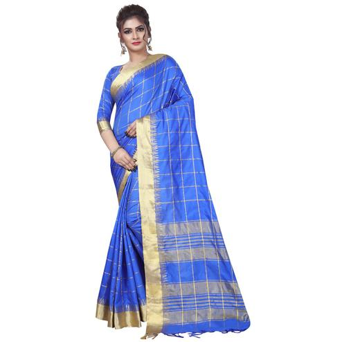 Lovely Blue Colored Festive Wear Art Silk Saree