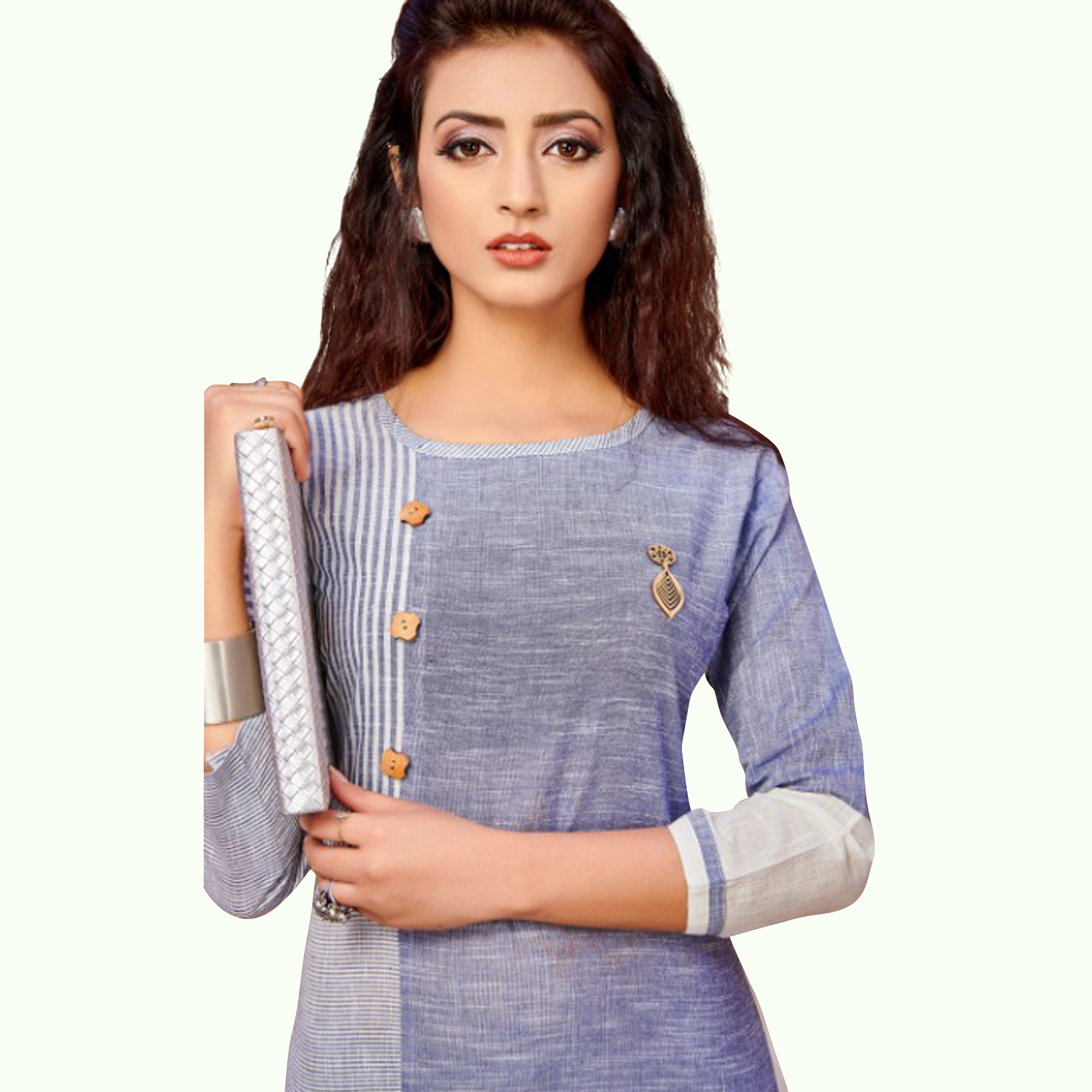 Eye-Catching Multi Colored Casual Wear Khadi Cotton Kurti