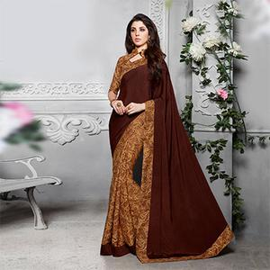 Brown - Beige Silk Crape Printed Half - Half Saree