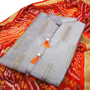 Radiant Light Grey Colored Partywear Embroidered Cotton Dress Material