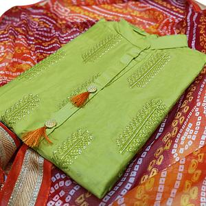 Pleasant Olive Green Colored Partywear Embroidered Cotton Dress Material