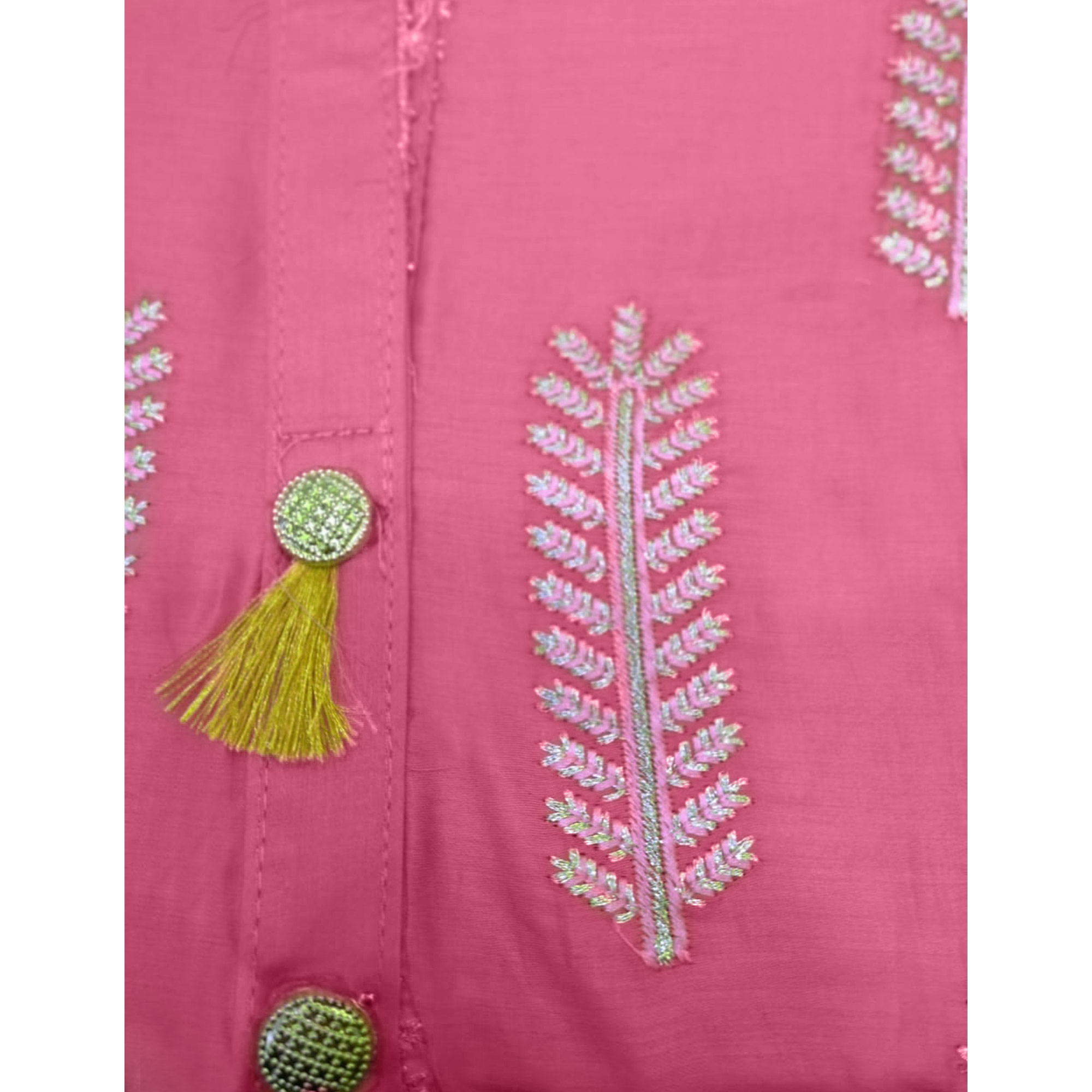 Opulent Pink Colored Partywear Embroidered Cotton Dress Material