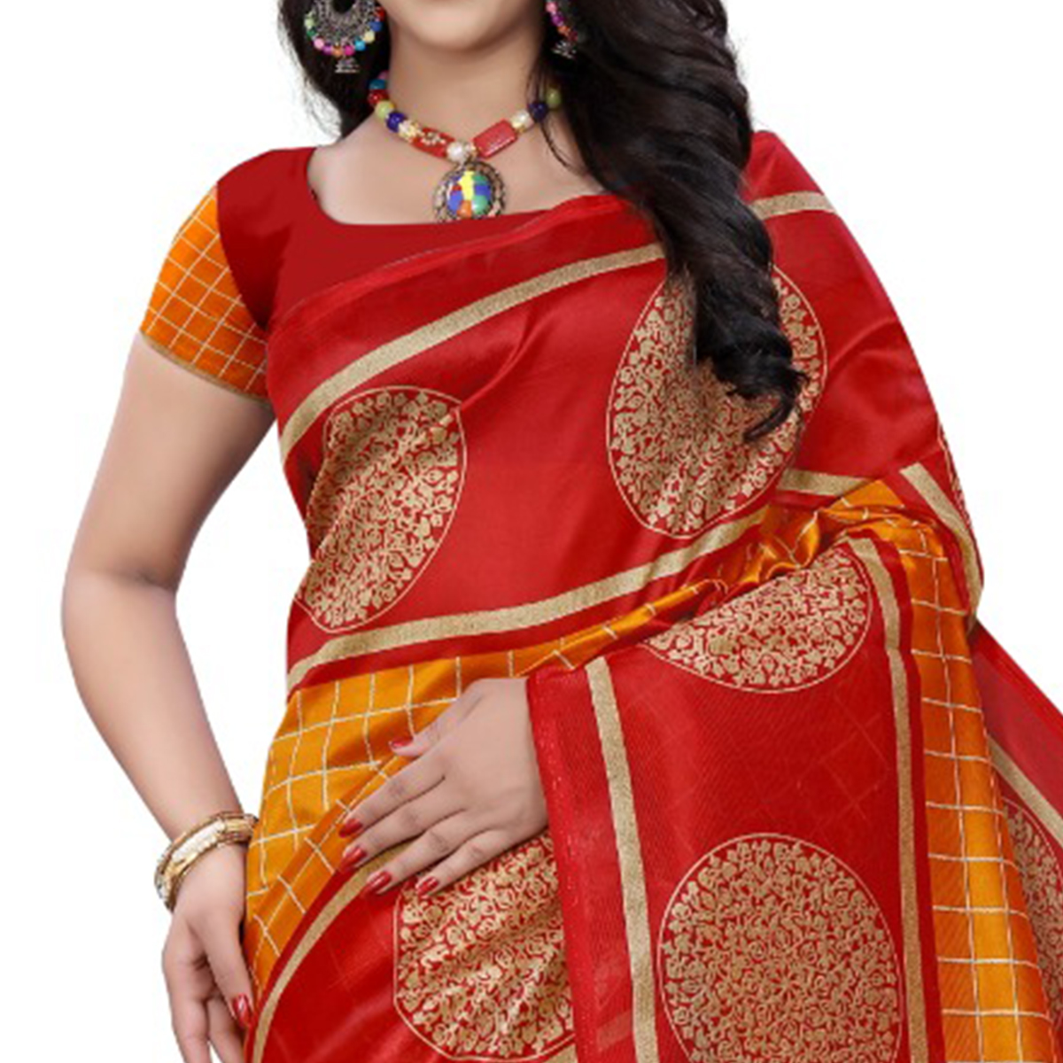 Radiant Yellow - Red Colored Casual Wear Printed Art Silk Saree