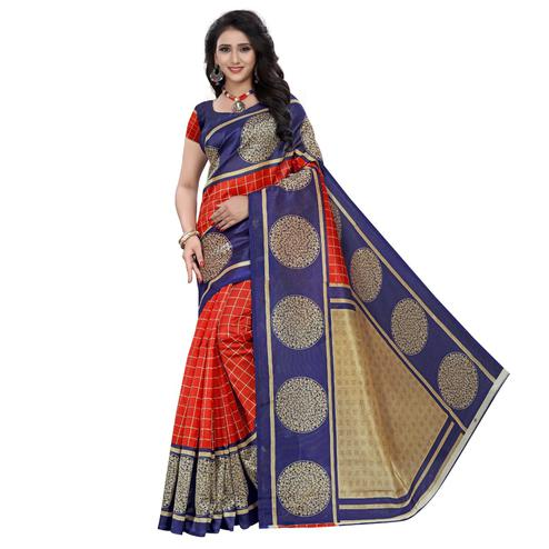 Pleasant Red - Blue Colored Casual Wear Printed Art Silk Saree