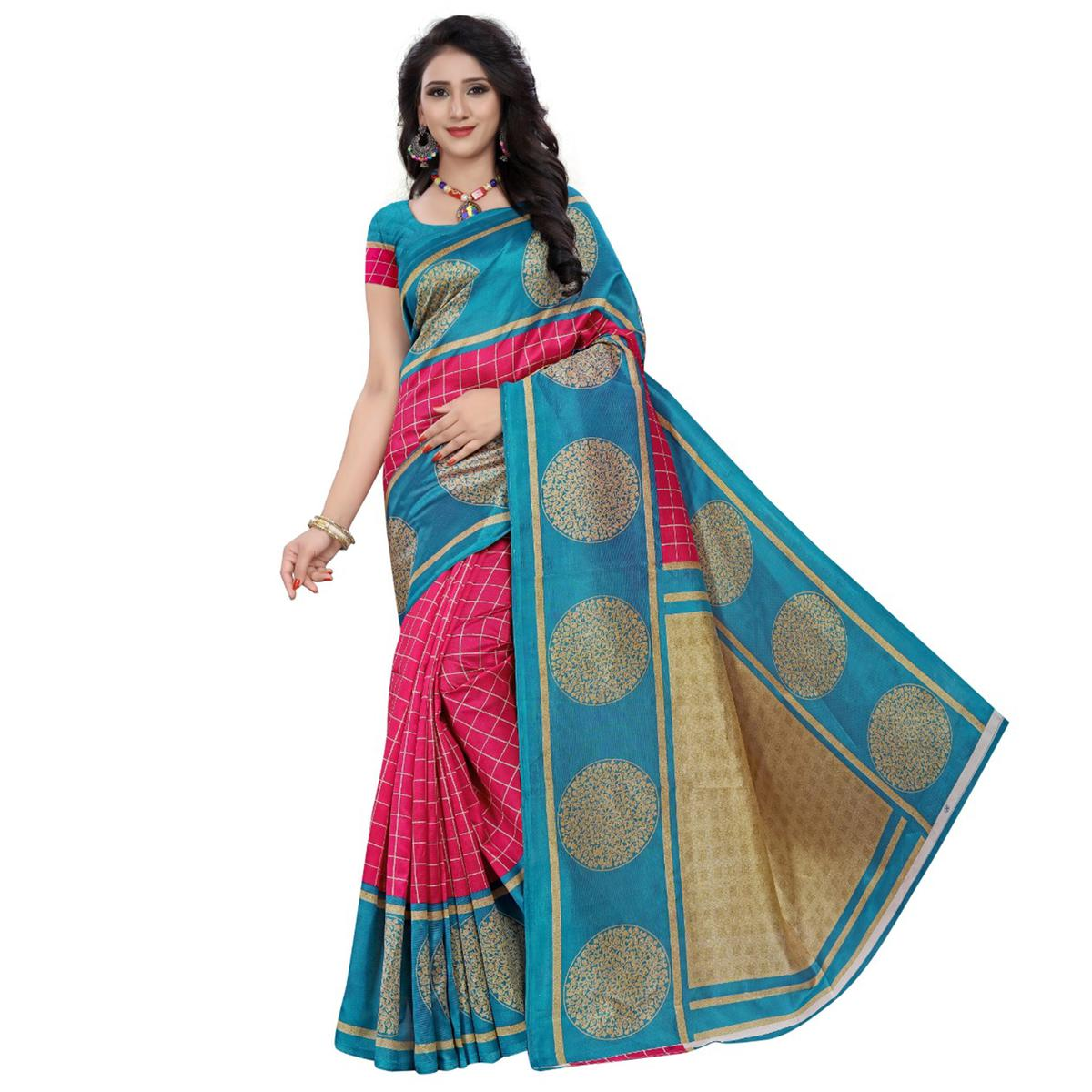 Opulent Pink - Rama Blue Colored Casual Wear Printed Art Silk Saree
