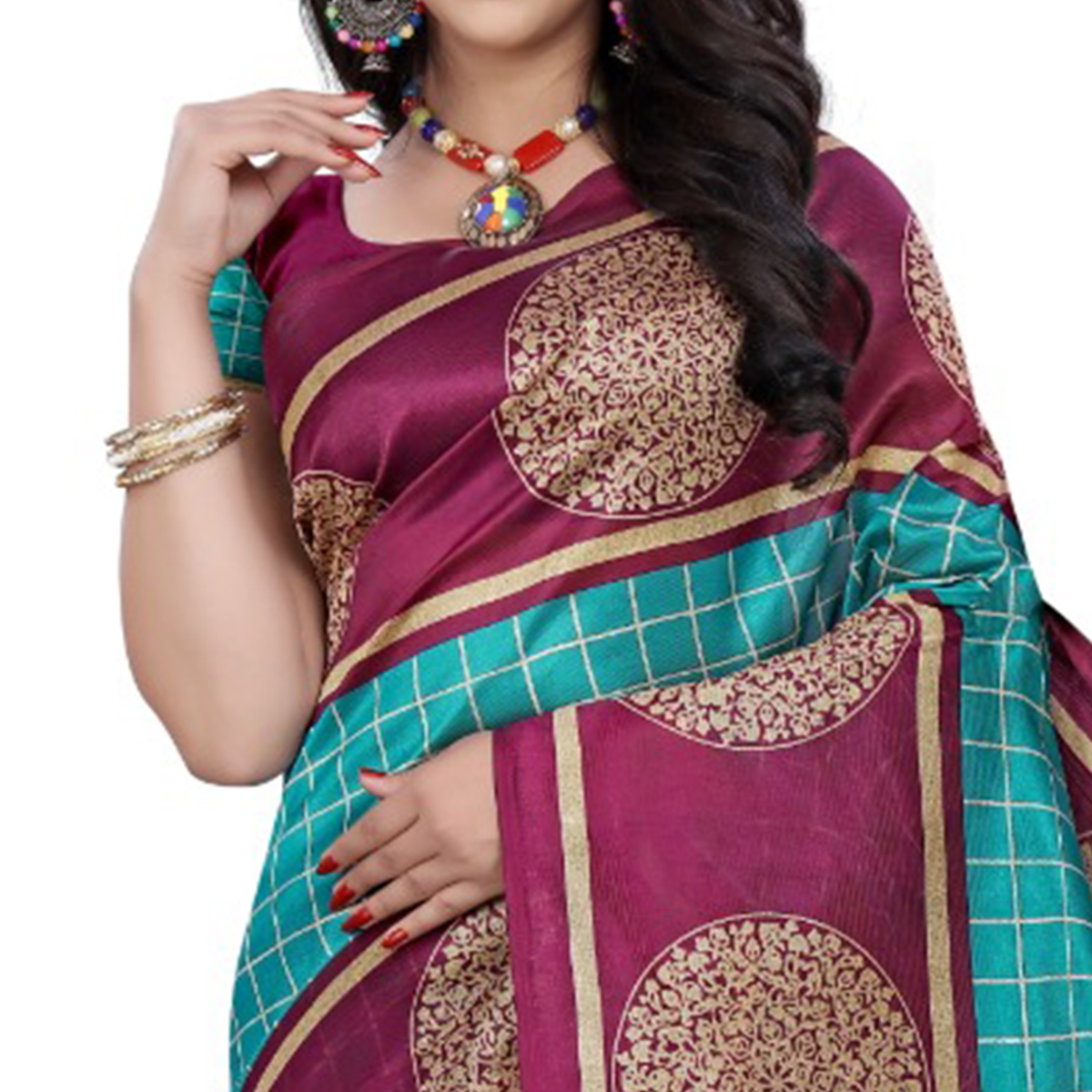 Glowing Turquoise - Wine Colored Casual Wear Printed Art Silk Saree