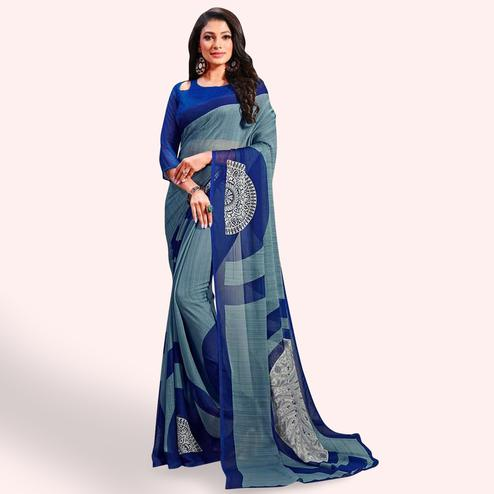 Attractive Light Stone Blue Colored Casual Printed Chiffon Saree