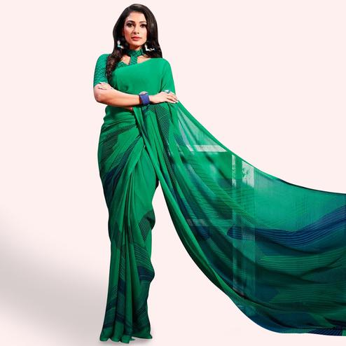 Blissful Green Colored Casual Printed Chiffon Saree
