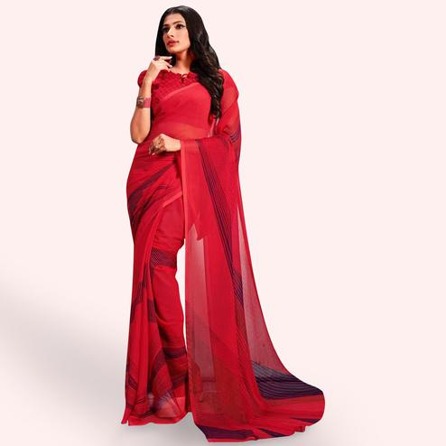 Blooming Red Colored Casual Printed Chiffon Saree