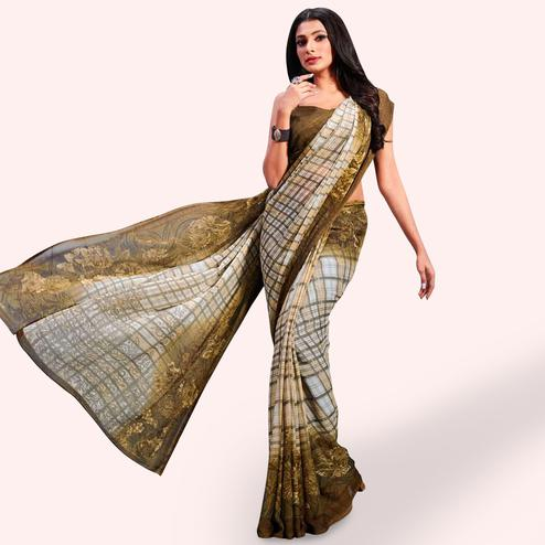 Engrossing Cream-Dark Mehendi Green Colored Casual Printed Chiffon Saree