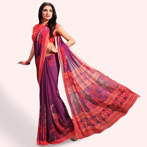 Entrancing Purple Colored Casual Printed Chiffon Saree