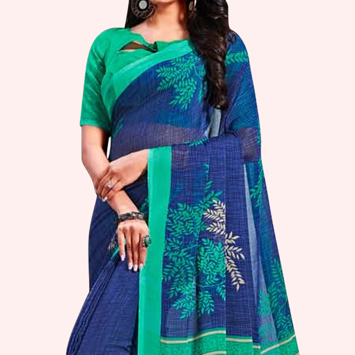 Exotic Blue Colored Casual Printed Chiffon Saree