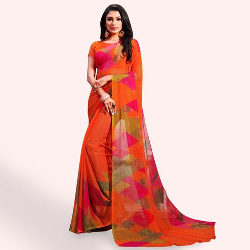 Eye-catching Orange Color Casual Printed Chiffon Saree