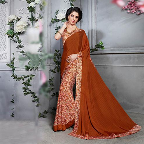 Brown - Cream Silk Crape Printed Half - Half Saree