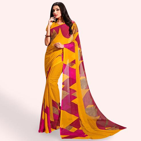 Fantastic Yellow Colored Casual Printed Chiffon Saree