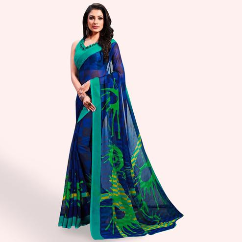 Glorious Blue Colored Casual Printed Chiffon Saree