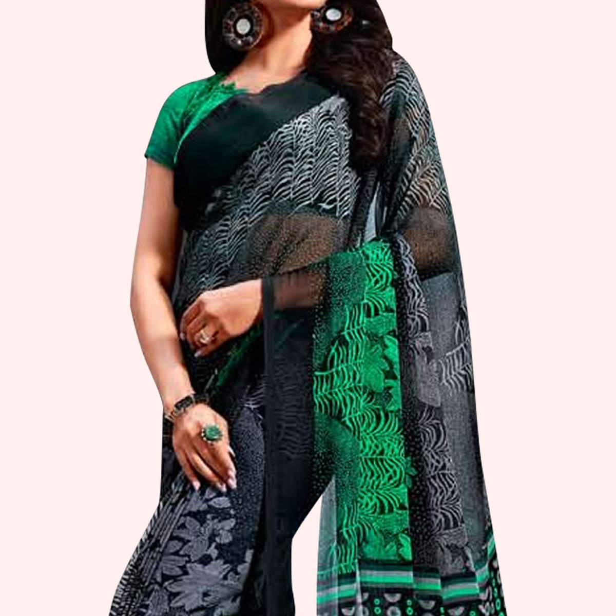 Graceful Black-Green Colored Casual Printed Chiffon Saree